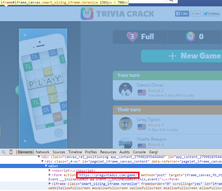Using Chrome Dev Tools to inspect Trivia Crack's HTML