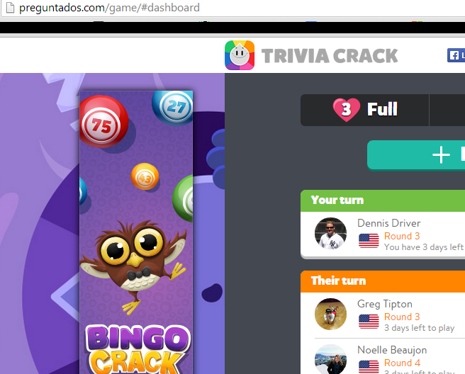 Playing Trivia Crack on Preguntados.com
