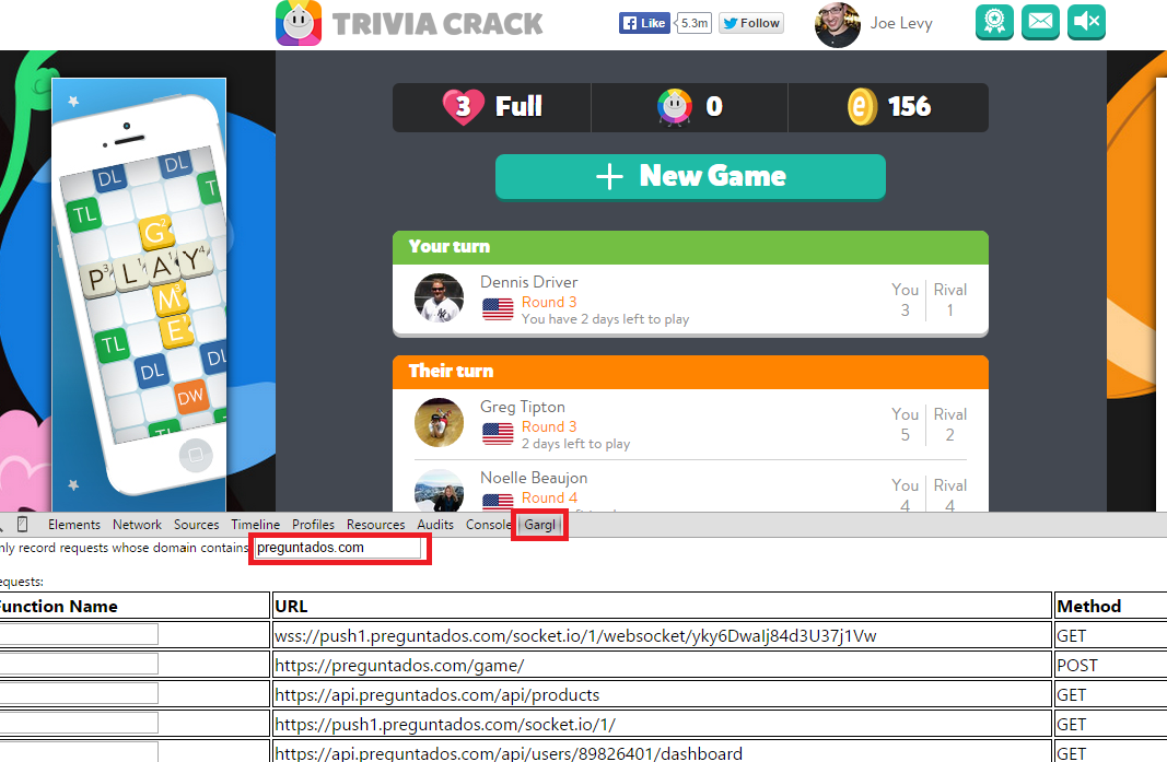 Using Gargl to record actions in Trivia Crack
