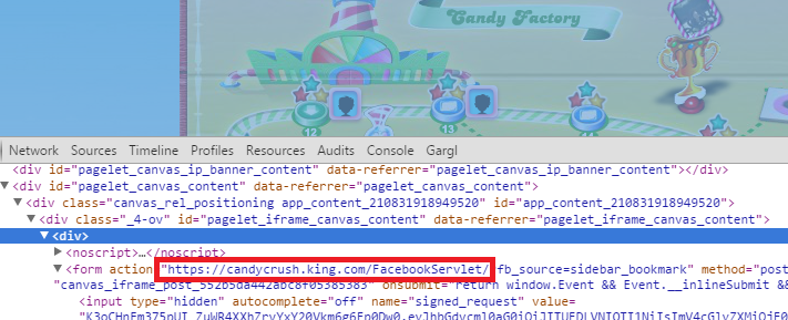 Using Chrome Dev Tools to inspect Candy Crush Cracker's HTML