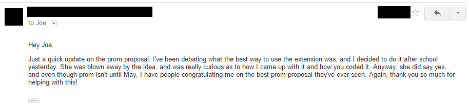She said yes when asked using the Trivia Cracker Prom Chrome extension!